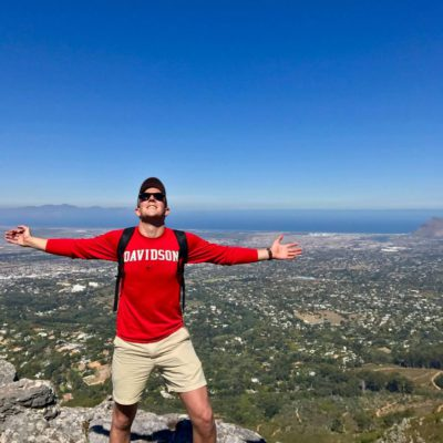 Jason Eakes stands atop Table Mountain. He participated in an 8-week medical internship in Cape Town, South Africa with VACorps