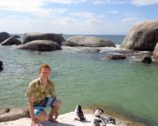 Connor at Boulder's Beach with African Pegnins