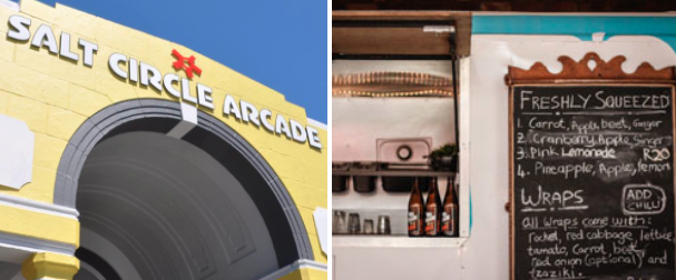 The Salt Circle Arcade is full of local stores, a brewing supply shop and a garden courtyard stocked with food trucks and a coffee car.