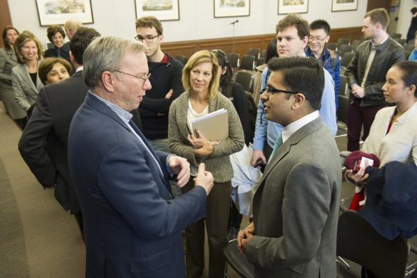 Abdullah with Google's Executive Chairman who is now Chairman of ALphabet Inc and the world's 119th richest man, Eric Schmidt